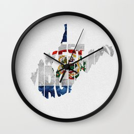 West Virginia Typographic Flag Map Art Wall Clock