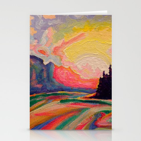 The Sun Is Setting At The Lake  Stationery Cards