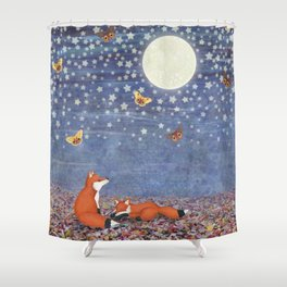 moonlit foxes Shower Curtain