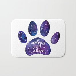 Adopt don't shop galaxy paw - purple Bath Mat