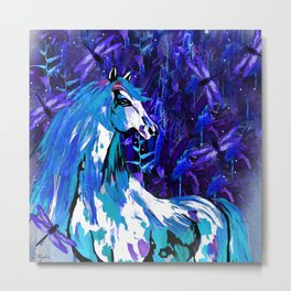 HORSE INDIGO BLUE AND DRAGONFLY NIGHTS Metal Print