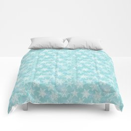 blue winter background with white snowflakes Comforters