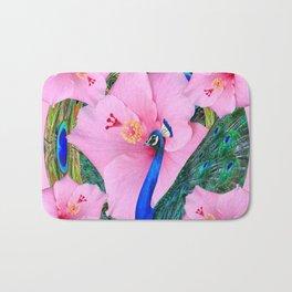 TROPICAL PINK HIBISCUS FLOWERS & BLUE-GREEN PEACOCK Bath Mat