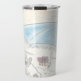 Sweet French Bulldog Santorini Romance Travel Mug