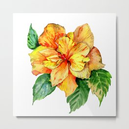 Yellow Summer Hibiscus Blossom Metal Print