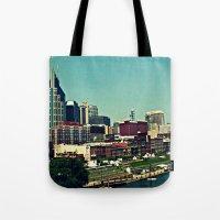 nashville Tote Bags featuring Nashville Skyline by Sydney Smith