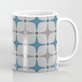 Mid Century Modern Star Pattern Grey and Blue Coffee Mug