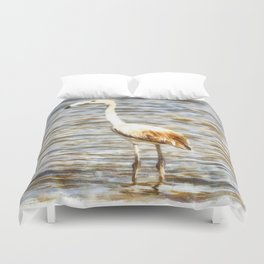 Pretty Flamingo Fledgling Watercolor Duvet Cover