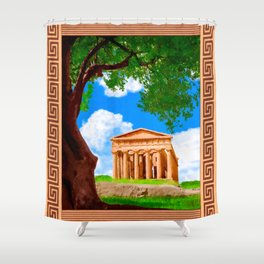 Ancient Greek Temple Ruins At Agrigento Shower Curtain