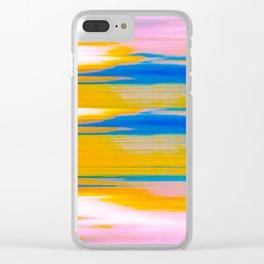 Sea view orange_blue Clear iPhone Case