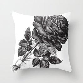 Engraved Rose Illustration Throw Pillow