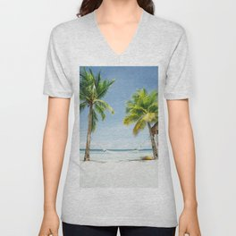 Palm trees, hammock Unisex V-Neck