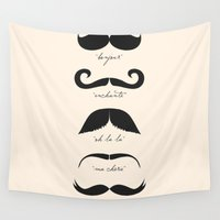 moustache Wall Tapestries featuring Monsieur Moustache by The Love Shop
