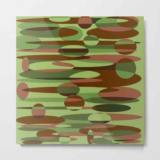 Trendy Green and Brown Camouflage Spheres Metal Print