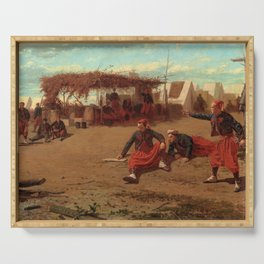 Winslow Homer1 - Pitching Quoits - Digital Remastered Edition Serving Tray