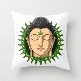 Weed Buddha Zen Stoner Throw Pillow