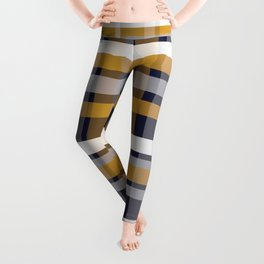 Modern Retro Plaid in Mustard Yellow, White, Navy Blue, and Grey Leggings