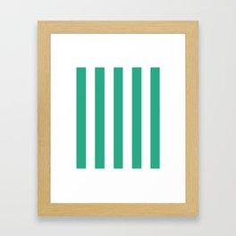 Jungle green - solid color - white vertical lines pattern Framed Art Print