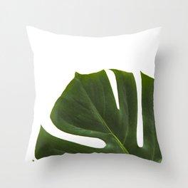 Minimal capture of monstera leaf Throw Pillow