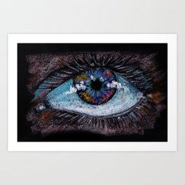 Abstract big blue eye. Oil Pastel. Black background. Art Print