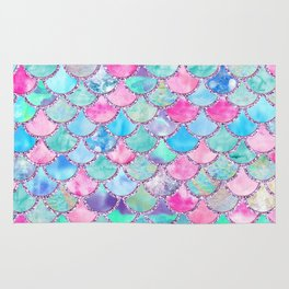 Colorful Pink and Blue Watercolor Trendy Glitter Mermaid Scales Rug