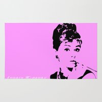 audrey hepburn Area & Throw Rugs featuring Audrey Hepburn by Walter Eckland