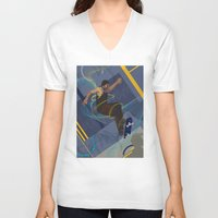 skateboard V-neck T-shirts featuring Project Skateboard by Martin Orme