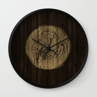 skyrim Wall Clocks featuring Shield's of Skyrim - Whiterun by VineDesign