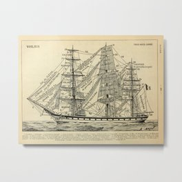 Sailing Ship Vintage Scientific Illustration French Language Encyclopedia Lithographs Educational Metal Print