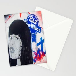 pabst blue ribbon robot lady 2 Stationery Cards