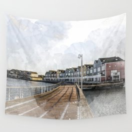 Rainbow Houses. Architectural watercolor and ink drawing Wall Tapestry