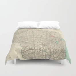 Vintage Map of Wisconsin (1886) Duvet Cover