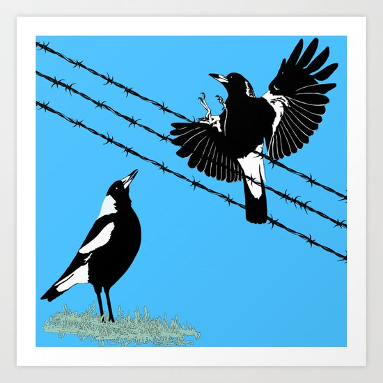 Magpies: learn to fly Art Print