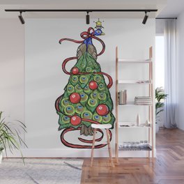 Peacock Christmas Tree Wall Mural