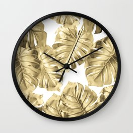 Gold Monstera Leaves on White 2 Wall Clock