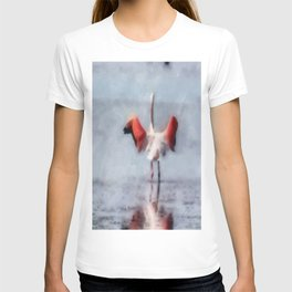The Pink Flamingo in Watercolor T-shirt