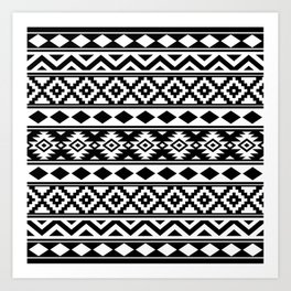 Aztec Essence IIIb Ptn White & Black Art Print