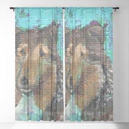 Andrea the Sheltie Sheer Curtain