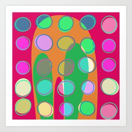 Nouveau Retro Graphic Pink Green Multi Colored Art Print