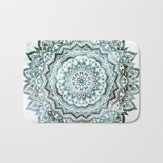 Emerald Jewel Mandala Bath Mat
