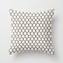 Geometric Clamshells on Ivory Throw Pillow