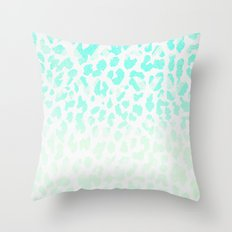Vintage Teal Leopard Throw Pillow