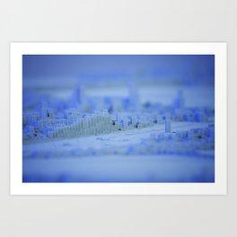 cold winter blocky metropolis Art Print