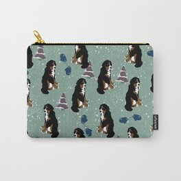Winter Bernese Mountain Dog Pattern  Carry-All Pouch