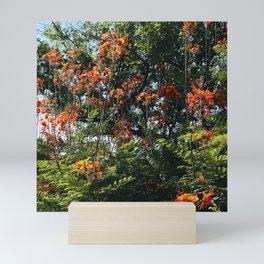 Red Flowers and Vibrant Trees Scenic Art Photo Mini Art Print