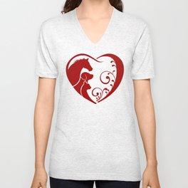 Valentine's Heart for Animal Lovers Unisex V-Neck