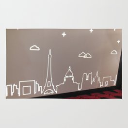 Paris skyline in lights Rug