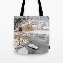 Frozen Lake Snowdonia Tote Bag