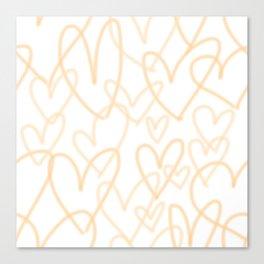 Peach Hearts Canvas Print
