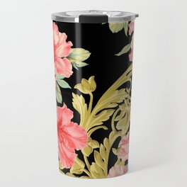 Scroll Azelea in Black Travel Mug
